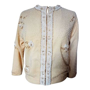 Vintage 1950s cream & champagne beaded knit cardigan