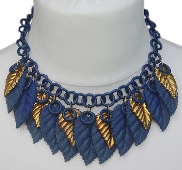 Vintage 1930s Blue & Gold Celluloid Leaf Vintage Necklace