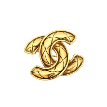 Chanel 1980s CC Logo Quilted Gold Tone Vintage Brooch