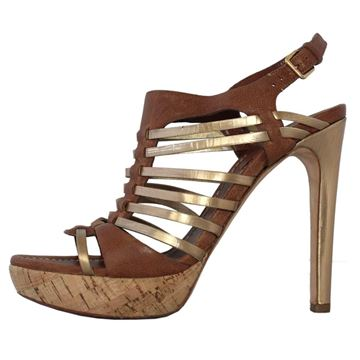 Miu Miu Leather brown & gold sandal
