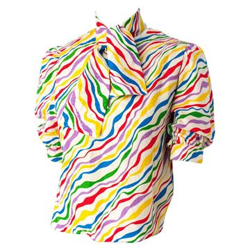 Nina Ricci 1970s Rainbow Wave Star vintage Blouse