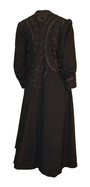 Edwardian Black Coat Elaborately Trimmed in Silk and Satin