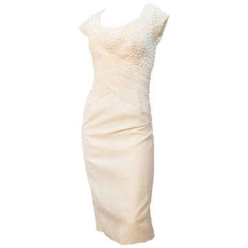 Vintage 1960s Rouched Bodice Cream Silk Dress