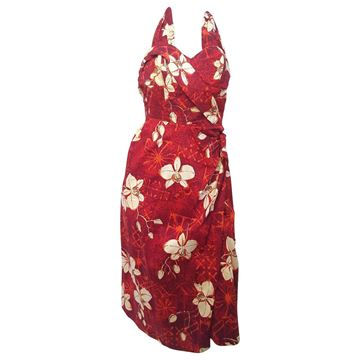 Alfred Shaheen 1950's Orchid Tiki Print Red Cotton Dress