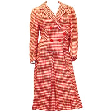 I. Magnin and Co. 1960s Double Breasted Check Red Vintage Skirt Suit