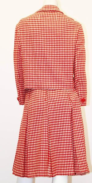 60s Checkered I.Magnin & Co. Double Breasted Skirt Suit