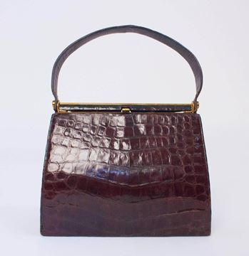 Vintage 1950s Patent Alligator Skin Brown Handbag