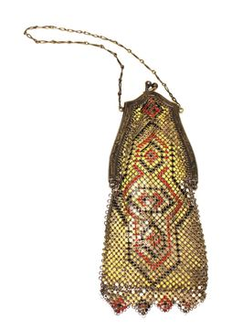 Vintage 1920s Enamelled Mesh Yellow, Red and Black Evening Bag