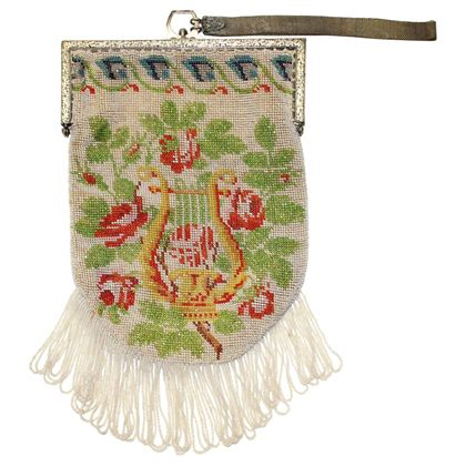 1920's Beaded Floral Wristlet Bag w/ Fringe