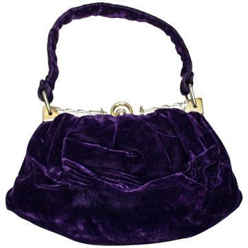 Vintage 1930s Velvet and Lucite Purple Evening Bag