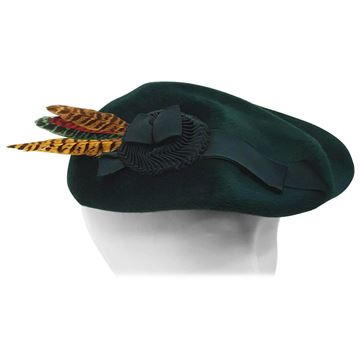 Vintage 1940s Feathered Cockade Felt Green Hat