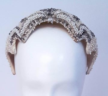 Vintage 1950s Beaded Satin White Hat