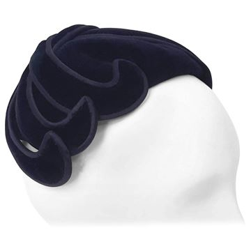 Laddie Northridge 1950s Velour Swirl Midnight Blue Vintage Hat