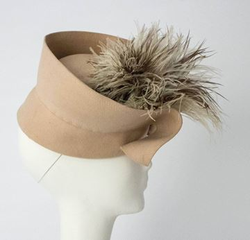 H. Liebes and Co. 1940s Wrap Felt and Feather Taupe Vintage Hat