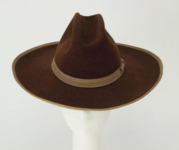 Vintage 1940s Tan Grosgrain Trim Felt Brown Cowboy Hat