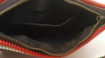 Vintage 1950s Mexican Hand Tooled Leather Red Clutch Bag