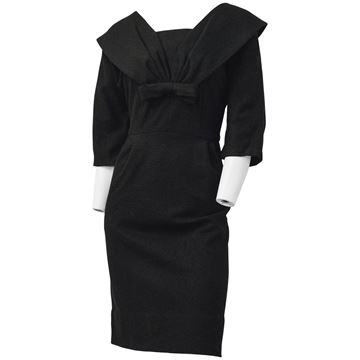 Vintage 1950's Wide Bow Fixed Collar Black Wool Dress