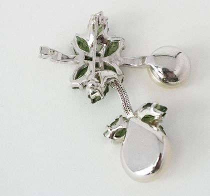 60s Jomaz Brooch Silver Tone with Forest Green Crystals and Pearls