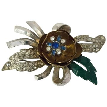 Vintage 1940s Enamel and Crystal Flower Silver and Gold Tone Brooch