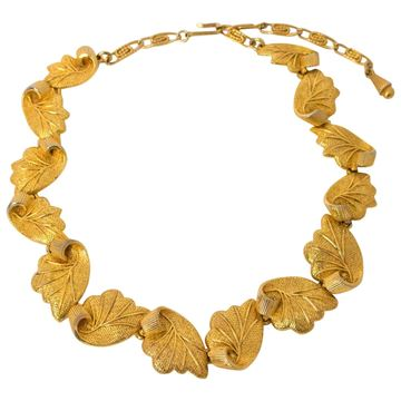 Elsa Schiaparelli 1950s Leaf Gold Tone Metal Vintage Necklace