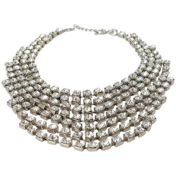 Vintage 1980s Tiered Crystal Silver Tone Metal Necklace