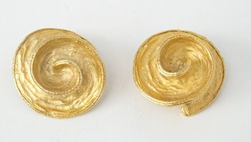 Vintage 1980s Hammered Swirl Gold Tone Clip Earrings
