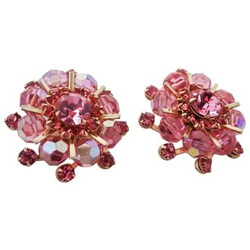 Weiss 1950s Pink Crystal Vintage Clip Earrings