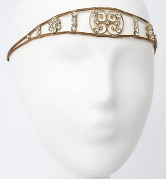 Vintage 1920s Flapper Gold Tone and Crystal Headpiece Headdress