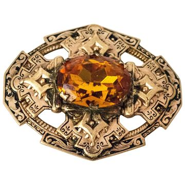 Antique Edwardian Large Faceted Amber Glass Brooch