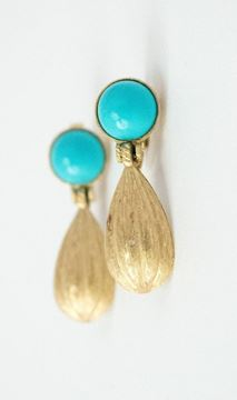Trifari 1950s Gold Tone Textured Drop and Turquoise Top Vintage Earrings