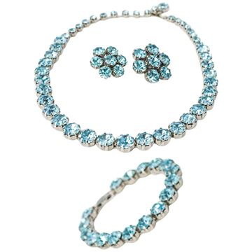 Weiss 1960s Aqua Rhinestone Vintage Earrings, Necklace and Bracelet Set