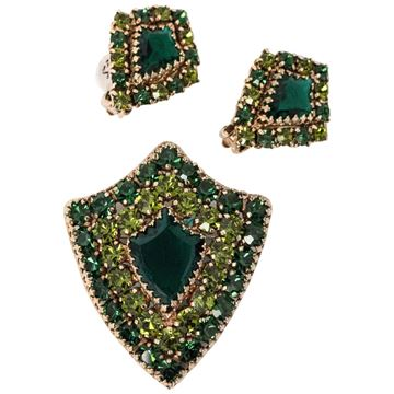 Weiss 1960s Shield Rhinestone Embellished Green Brooch and Earring Set