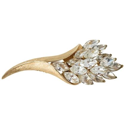 50s Coro Gold Brushed Crystal Bouquet Brooch