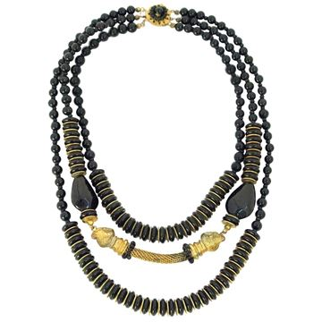 Miriam Haskell 1950s Ram Head Black Vintage Necklace