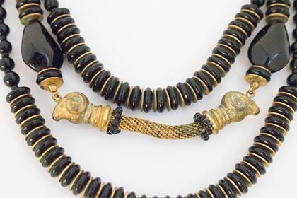 50s Miriam Haskell Black & Gold Ram Head Necklace