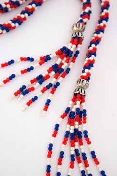 Vintage 1960s Twisted Bead Rope Red, White & Blue Necklace