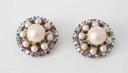 50s-kramer-pink-pearl-carnival-glass-crystal-earrings