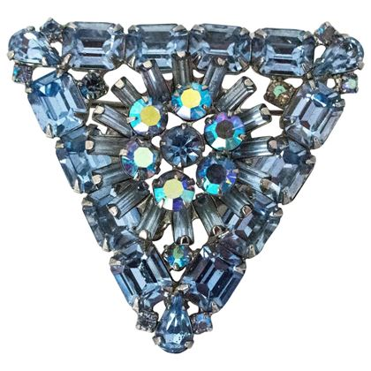50s Weiss Blue Glass Crystal Brooch