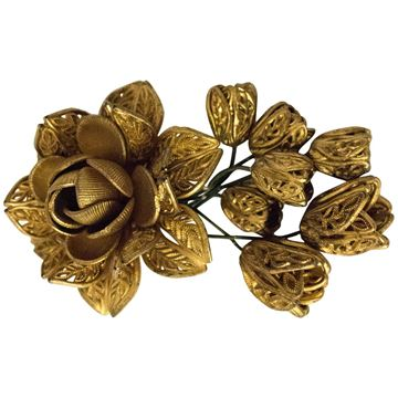 Vintage 1940s  Rose Bud Painted Plastic Gold Sweater Clip