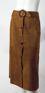 Vintage 1970s Button Front Belted Tan Suede Skirt