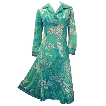Pucci 1960's Swish and Splash Print Cotton Green Vintage Dress