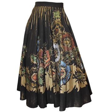 Vintage 1950s Hand Painted Floral Black Circle Skirt