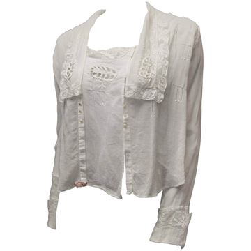 Antique 1910s Lace Edge Square Collar White Cotton Blouse