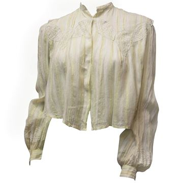 Antique Edwardian Striped Lace Leaf Appliqued Pale Yellow Blouse
