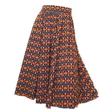 Vintage 1950s Cotton Argyle Print Red, Yellow and Blue Circle Skirt