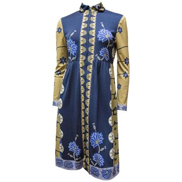 Paganne 1970s Floral Print Yellow and Blue Midi Dress