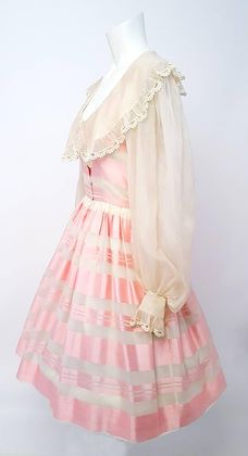 80s Albert Capraro Pink and Off-white Silk Striped Dress
