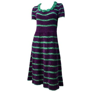 Vintage 1940's Chenille Knitted Green and Purple Stripe Midi Dress
