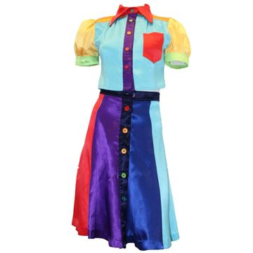 Mr. Freedom 1970s Rainbow Coloured Vintage Skirt and Blouse Two Piece