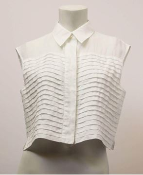 Chanel 1980s Pleated Front Sleeveless White Crop Top Blouse